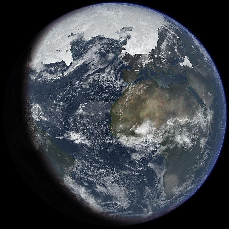 氷期最盛期の地球の氷河時代の想像図