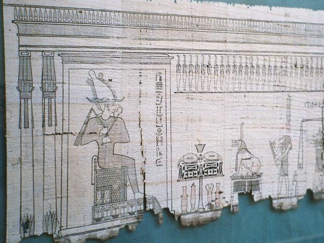 パピルスの巻物に書かれたエジプトの死者の書
