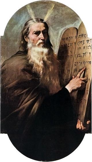 十戒が書かれた石板を持つモーセ