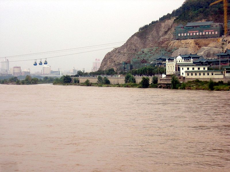 蘭州における黄河の流れ