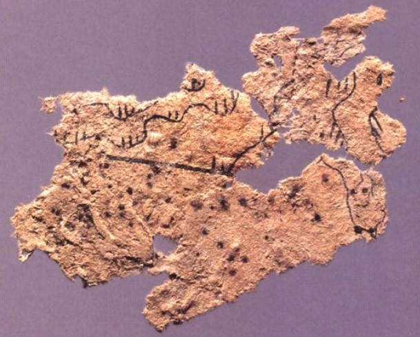 中国、放馬灘で発掘された初期の紙の断片