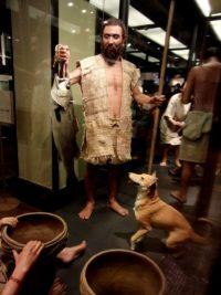 縄文人と縄文犬の復元模型